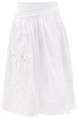 Rochas Floral-embroidered Cotton-poplin Skirt - White