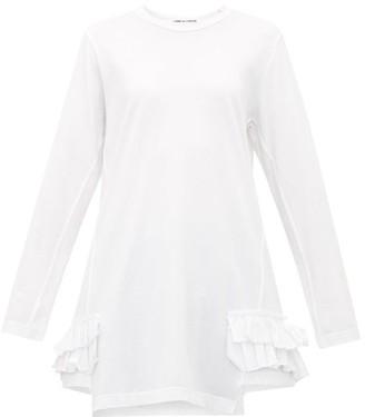 Comme des Garcons Asymmetric Ruffle Trimmed Jersey T Shirt - Womens - White