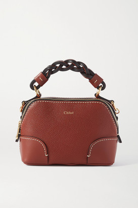 Chloé Daria Mini Textured And Smooth Leather Tote - Brown