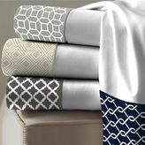 Laundry by Shelli Segal 300-Thread-Count Printed Cuff Sheet Set in White/Charcoal
