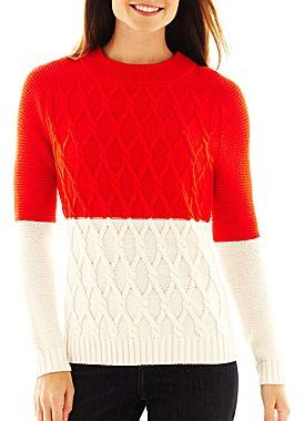 Liz Claiborne Long-Sleeve Colorblock Cable Sweater