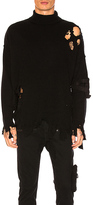 C2H4 Destroyed Turtleneck Wool Sweater