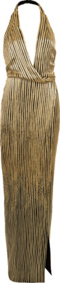 Oscar de la Renta Gold Beaded Halter Gown