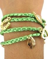 Ettika - Green String Gold Charm Wrap Bracelet