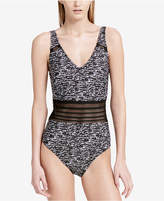 Calvin Klein Sea Glass Printed Mesh-Inset One-Piece Swimsuit Women's Swimsuit