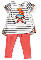 Rare Editions Baby Girls 12-24 Months Striped-To-Floral Top & Solid Leggings Set