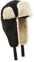 Moncler Shearling-Lined Trapper Hat, Black