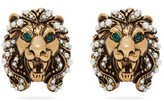 Gucci Lion Faux Pearl-embellished Clip Earrings - Womens - Gold