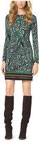 Michael Kors Paisley-Print Jersey Dress Petite