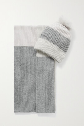 Portolano Faux Fur-trimmed Striped Cashmere Beanie And Scarf Set - Ivory