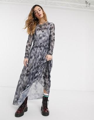 Noisy May mesh maxi dress in black smudge print