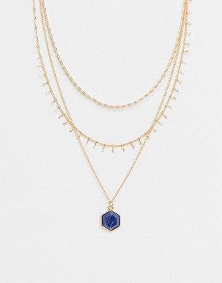 ASOS DESIGN multirow necklace with blue stone in gold tone