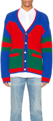 Gucci Oversize Striped Wool Cardigan in Live Red & Ink & Multi | FWRD