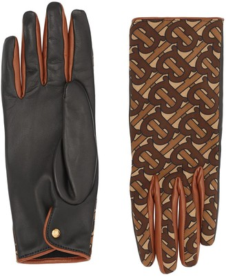 Burberry Cashmere Lining Monogram Print Gloves