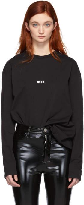 MSGM Black Logo Long Sleeve T-Shirt