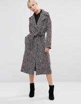 Helene Berman Clutch Coat In Gray & Pink Tweed