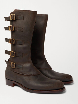 Kingsman + George Cleverley Vaughn Buckled Nubuck Boots