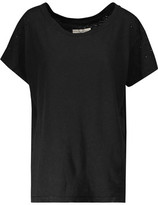 Current/Elliott Embellished Distressed Linen And Cotton-Blend Jersey T-Shirt