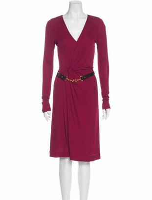 Gucci Plunge Neckline Knee-Length Dress Pink