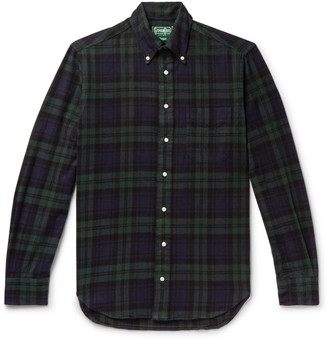 Gitman Brothers Button-Down Collar Black Watch Checked Brushed Cotton-Flannel Shirt
