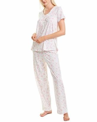 Carole Hochman Carole hochaman Women's Short Sleeve Long Pant Pajama Set