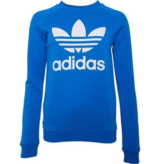 adidas Womens Trefoil Crew Neck Sweatshirt Blue Bird