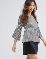 Daisy Street Gingham Top With Shirred Waist And Flared Sleeve