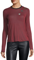 RED Valentino Striped Long-Sleeve T-Shirt w/ Embroidered Star Patches