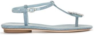 Giannico Crystal-Embellished Denim Sandals