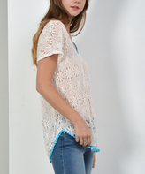Blue Sheer Lace Contrast-Trim Curved-Hem Tee