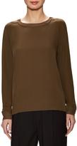 Vince Women's Silk Ribbed Trim Sweatshirt