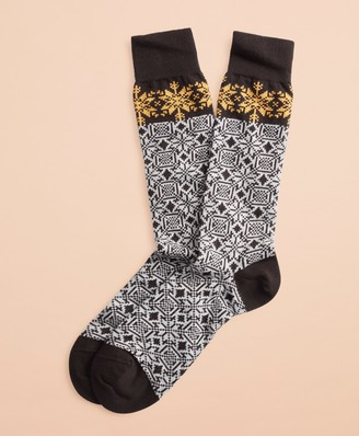 Brooks Brothers Snowflake Cotton Stretch Crew Socks