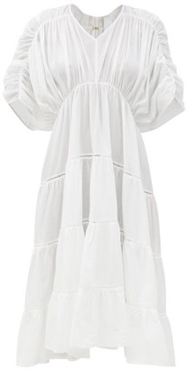 Merlette New York Athene Ruched Cotton-lawn Dress - White