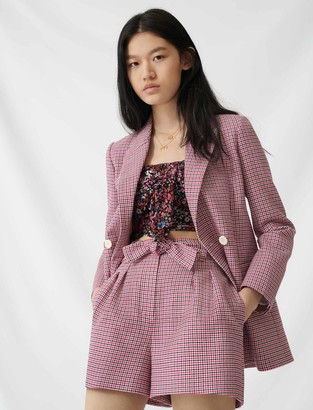Maje Checked straight double-breasted jacket