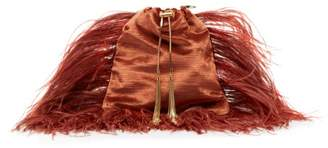 Rosantica By Michela Panero - Mademoiselle Feathered Velvet Cross Body Bag - Womens - Coral