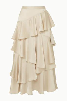 ALEXACHUNG Tiered Ruffled Satin Midi Skirt - Cream