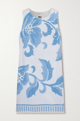 MM6 MAISON MARGIELA Cotton-terry Jacquard Mini Dress - Blue