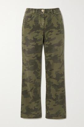Balmain Camouflage-print High-rise Straight-leg Jeans - Army green