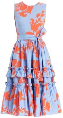 Carolina Herrera Sleeveless Ruffle Tie-Waist Dress