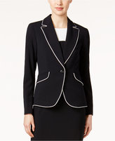 Nine West One-Button Piped Jacket