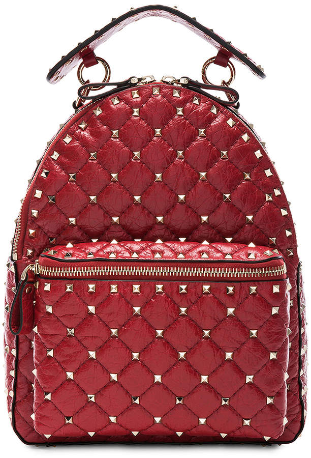 Valentino Small Rockstud Spike Backpack in Red | FWRD