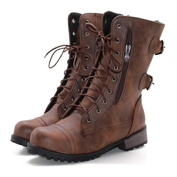 e0d0439a4f5 DoraTasia Women's Leather Lace-up Buckle Mid Heel Biker Boots Combat Retro  Mid Calf Military Boot