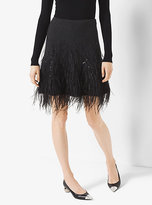 Michael Kors Feather-Embroidered Cashmere Skirt