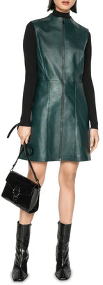 Cue Leather Funnel Neck Dress