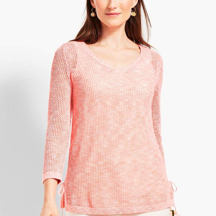 Talbots Space-Dye Mesh Side-Tie Sweater