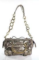 Donna Karan Gold Metallic Leather Chain Link Strap Shoulder Handbag