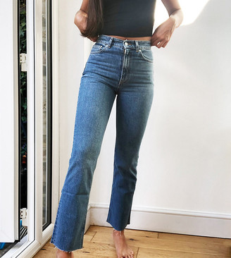 Asos Tall ASOS DESIGN Tall high rise 'Effortless' crop flare jeans in midwash
