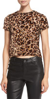 Alice + Olivia Deandrea Leopard-Print Cropped T-Shirt