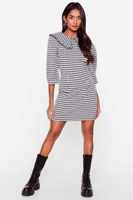 Nasty Gal Womens Gingham Something to Talk About Collar Mini Dress - Black - 4