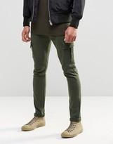 Asos Super Skinny Jeans With Cargo Pockets In Khaki